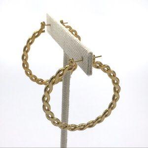 Gold Flat Rope Hoop Earrings